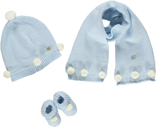 Piccola Speranza Blue Pom Pom Baby Gift Set